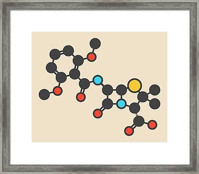 Meticillin Antibiotic Drug Molecule Framed Print