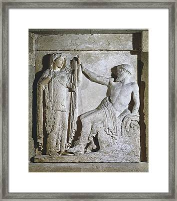 Metope With Hera And Zeus. Metope Framed Print