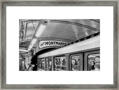 Framed Print featuring the photograph Metro At Montmartre. Paris by Jennie Breeze
