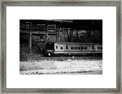 Metro North Railroad Train Approaches Spuyten Duyvil Statin Under Bridge New York Framed Print by Joe Fox