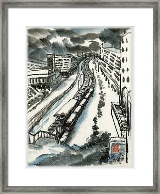 Framed Print featuring the painting Metro Train At Central Wester-end by Ping Yan