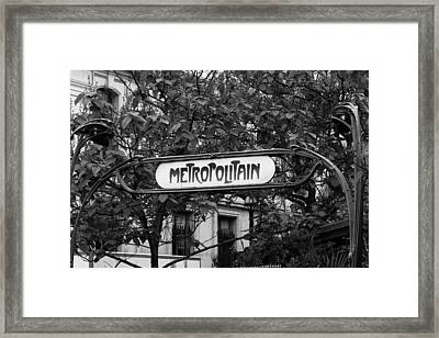 Metropolitain - Bw Framed Print by Carrie Warlaumont