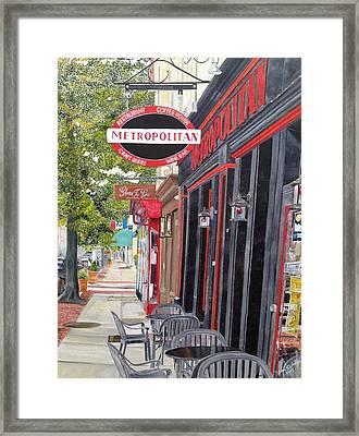 Metropolitan Cafe Framed Print by John Schuller