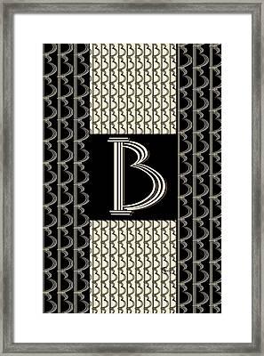 Metropolitan Park Deco 1920s Monogram Letter Initial B Framed Print by Cecely Bloom