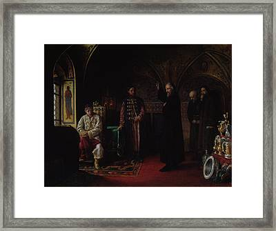 Metropolitan Philip Of Moscow 1507-90 With Tsar Ivan The Terrible 1530-84 Oil On Canvas Framed Print by Jakov Prokopyevich Turlygin