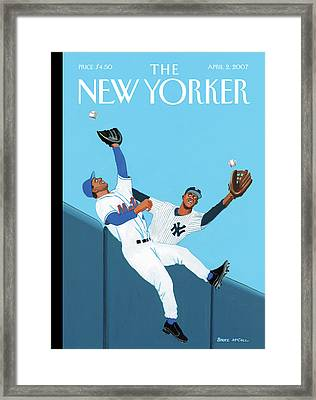 Mets And Yankees Players Cross Paths Trying Framed Print by Bruce McCall