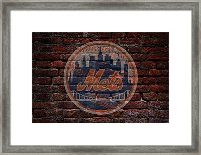 Mets Baseball Graffiti On Brick  Framed Print by Movie Poster Prints