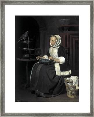 Metsu, Gabriel 1629-1667. Young Girl Framed Print