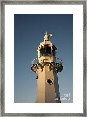Mevagissey Lighthouse In The Evening Framed Print by Anne Gilbert