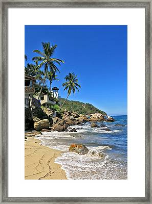 Mexican Beach Town Framed Print by Douglas Simonson