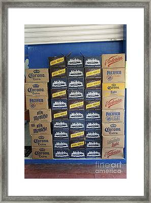 Mexican Cervezas Framed Print by John  Mitchell
