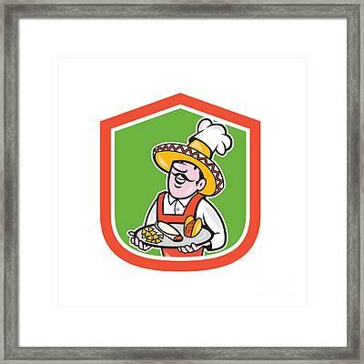Mexican Chef Cook Shield Cartoon Framed Print by Aloysius Patrimonio