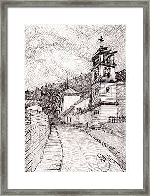 Mexican Church On The Hill. Framed Print by Serge Yudin