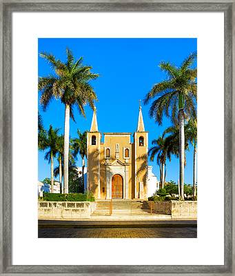 Mexican Church Sheltered By Palm Trees Framed Print