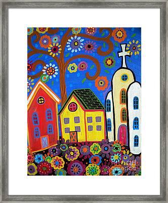 Mexican Church Town Framed Print