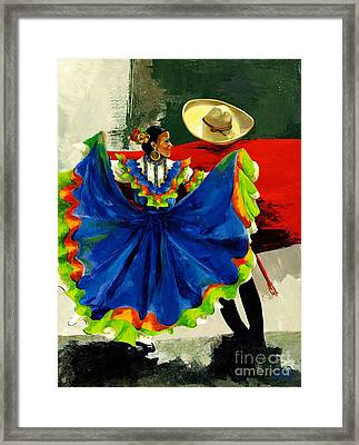 Mexican Dancers Framed Print by Elisabeta Hermann
