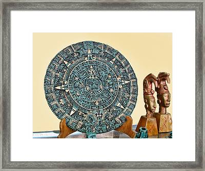 Mexican Medic Disk In Torquoise Framed Print by Linda Phelps