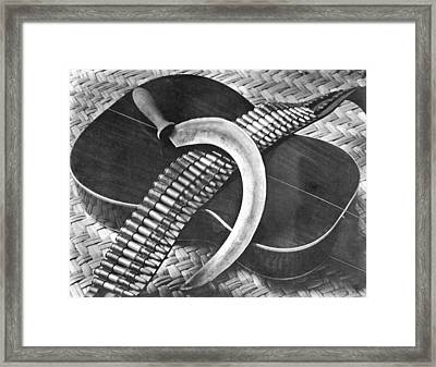 Mexican Revolution Guitar, Sickle Framed Print