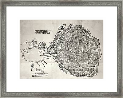 Mexico City And Gulf Of Mexico Framed Print