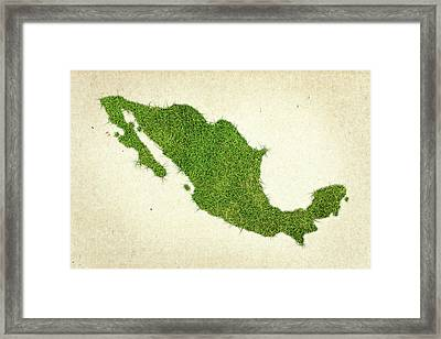 Mexico Grass Map Framed Print by Aged Pixel