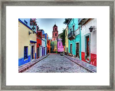 Mexico, Guanajuato, Colorful Back Alley Framed Print