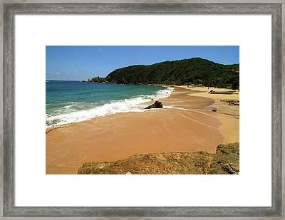 Mexico, Mazunte, Scenic View Of Beach Framed Print