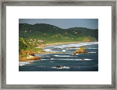 Mexico, Mazunte, Scenic View Of Sea Framed Print