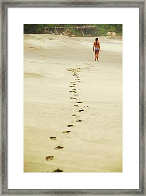 Mexico, Mazunte, View Of Footprints Framed Print