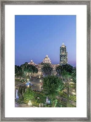 Mexico, Puebla, Zocolo And Puebla Framed Print