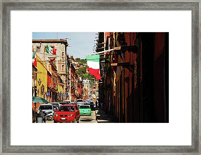 Mexico, San Miguel De Allende, Flag Framed Print by Anthony Asael