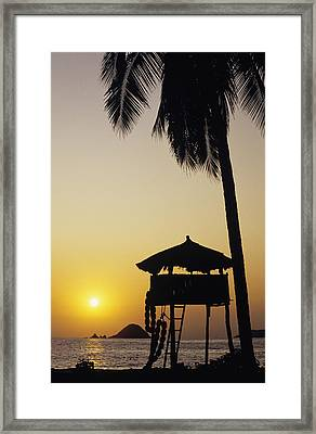 Mexico, Silhouette Of Beach Bungalow Framed Print by Bill Schildge