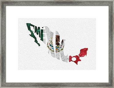 Mexico Typographic Map Flag Framed Print