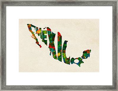 Mexico Typographic Watercolor Map Framed Print by Ayse Deniz