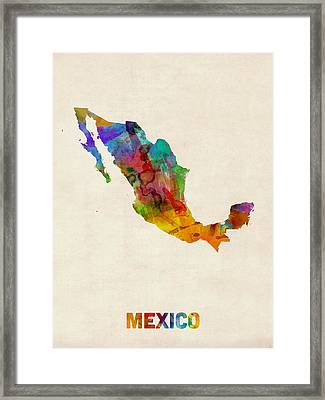 Mexico Watercolor Map Framed Print by Michael Tompsett