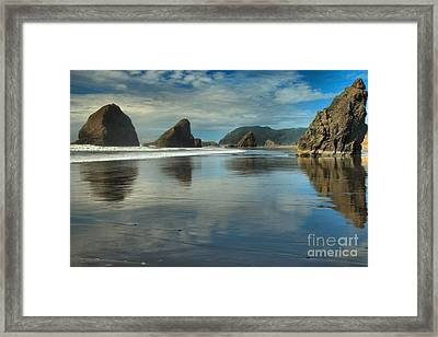 Meyers Creek Sea Stack Blues Framed Print by Adam Jewell