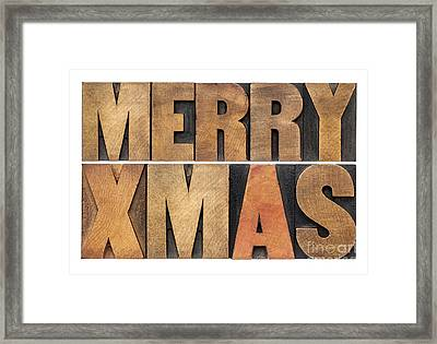 Meyy Xmas In Wood Type Framed Print by Marek Uliasz