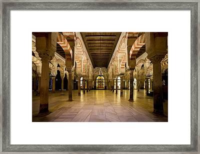 Mezquita Interior In Cordoba Framed Print