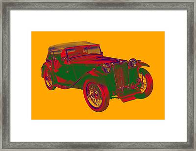 Mg Tc Antique Car Pop Art Framed Print by Keith Webber Jr