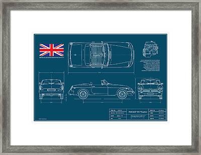 Mgb Mk 4 Blueplanprint Framed Print by Douglas Switzer