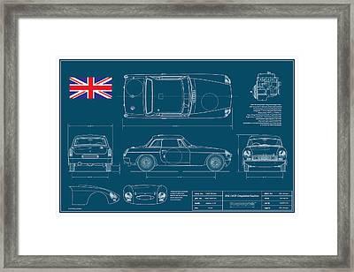 Mgb Works Racer Blueplanprint  Framed Print by Douglas Switzer