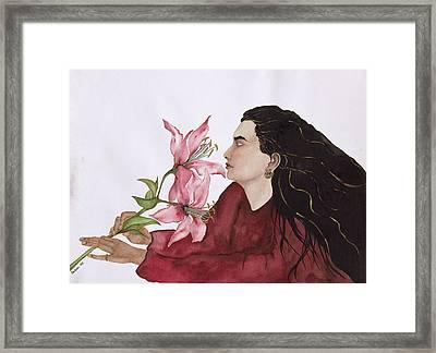 Mia Figlia, 1995 Wc On Paper Framed Print by Susan Adams