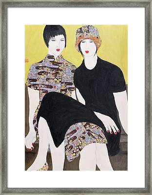 Mia Sorella IIi, 2004 Acrylic With Collage On Paper Framed Print