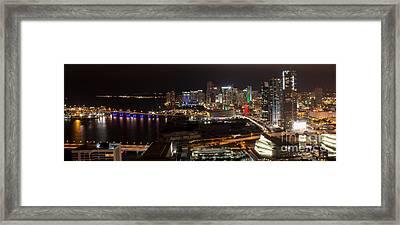 Miami After Dark II Skyline  Framed Print