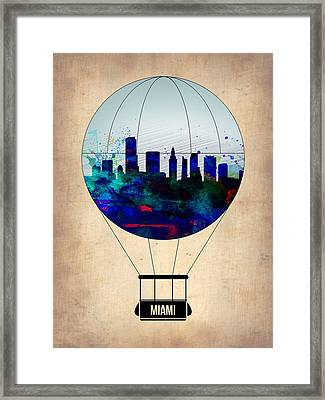 Miami Air Balloon Framed Print by Naxart Studio