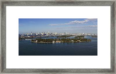 Miami And Star Island Skyline Framed Print
