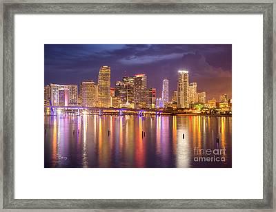 Miami Coming Alive At Dusk Framed Print