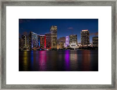 Miami At Night  Framed Print by Frank Molina