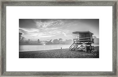 Miami Beach - 74th Street Sunrise - Panoramic - Black And White Framed Print