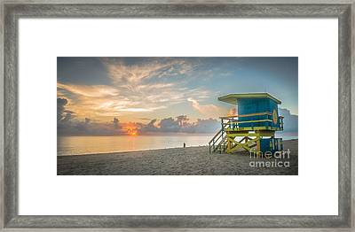 Miami Beach - 74th Street Sunrise - Panoramic Framed Print by Ian Monk