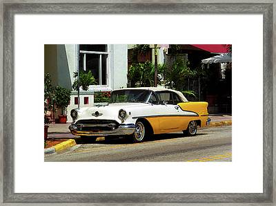 Miami Beach Classic Car With Watercolor Effect Framed Print by Frank Romeo